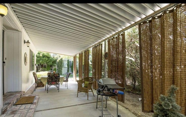 wicker shades on a mobile home awning