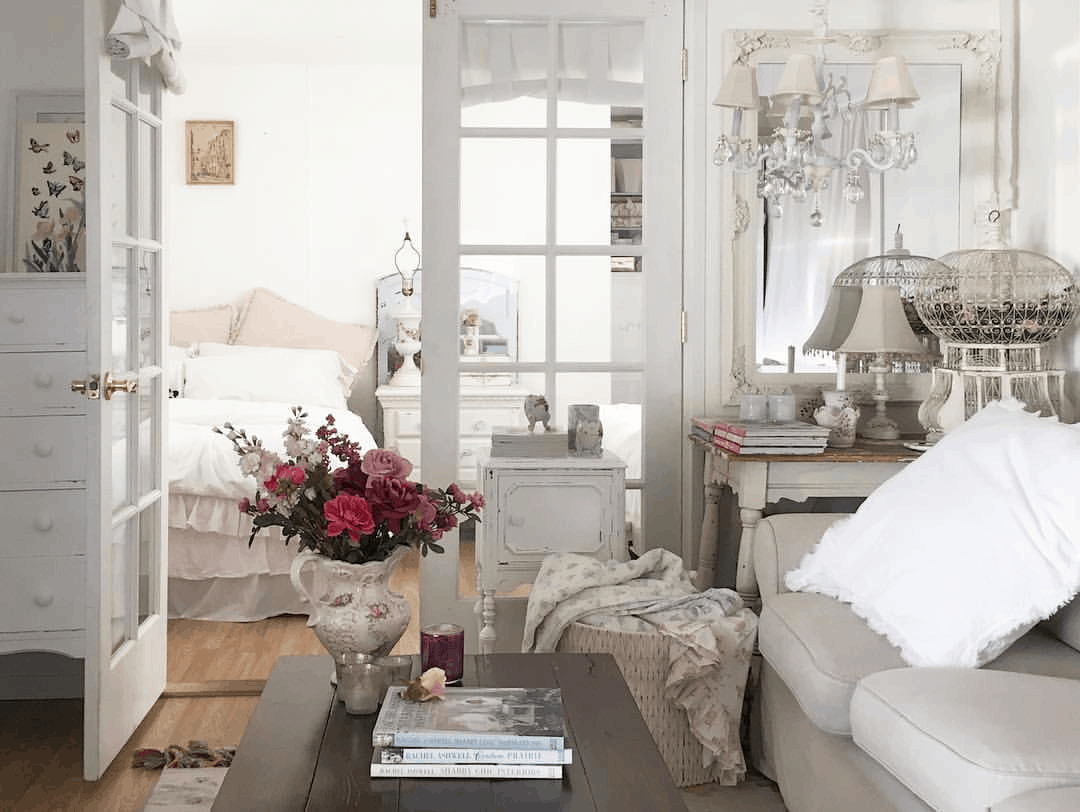 romantic shabby chic mobile home living room with french doors