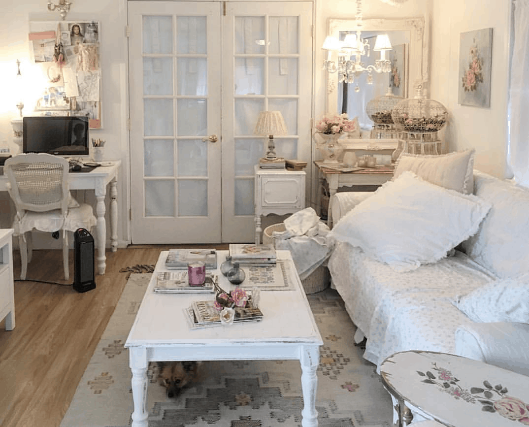 romantic shabby chic mobile home living room with french doors and decor