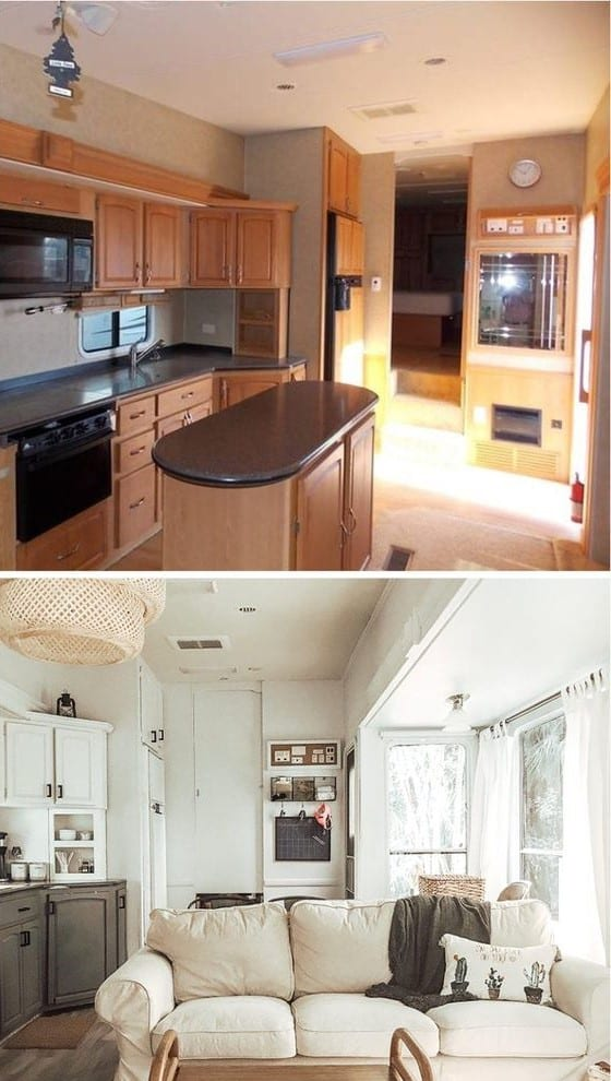 Th Wheel Interior With Kitchen Before And After