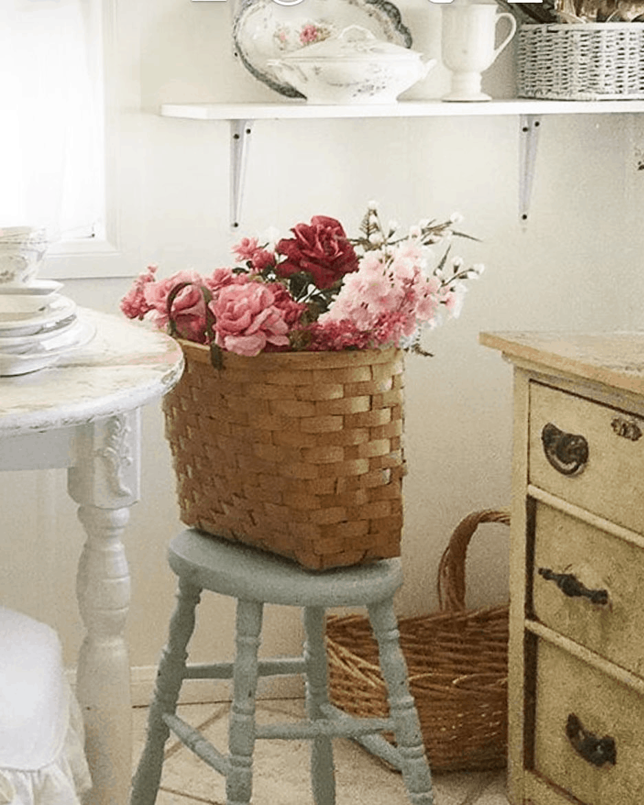 flower basket in shabby chic style kitchen