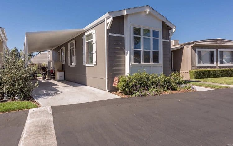 New single wide manufactured home with awning