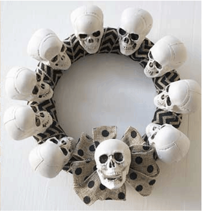 Affordable Halloween Decorations Skeleton Wreath 00001
