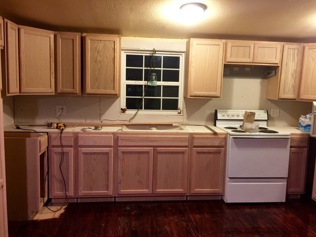 1985 Liberty single wide mobile home remodel  - kitchen cabinets installed