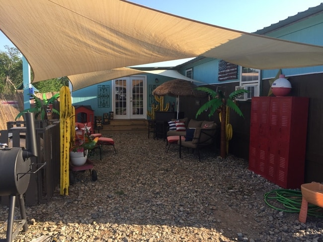 cool exterior patio on 1985 Liberty single wide mobile home