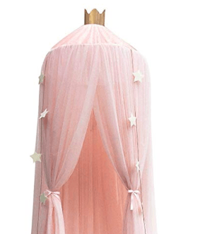 Amazon com dix rainbow bed canopy yarn play tent bedding for kids playing reading with children round lace dome netting curtains baby boys and girls games house pink gateway