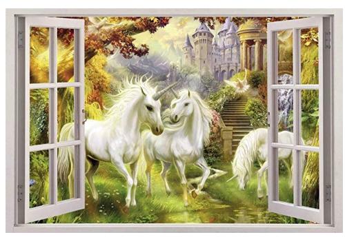 Amazon com unicorn garden 3d window view decal wall sticker home decor art mural fantasy c094 giant gateway