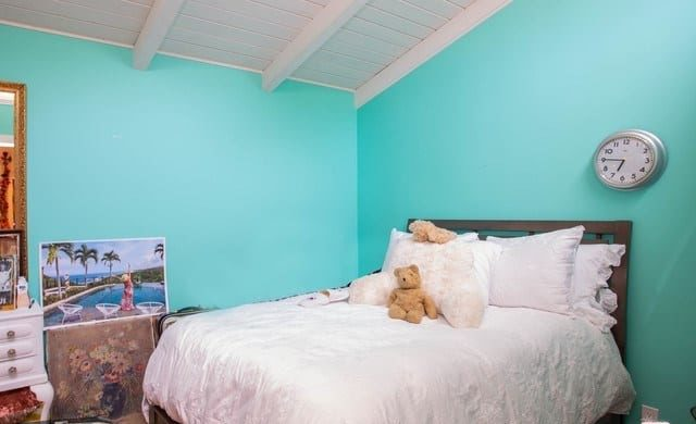 Betsy johnsons mobile home blue bedroom bed copy