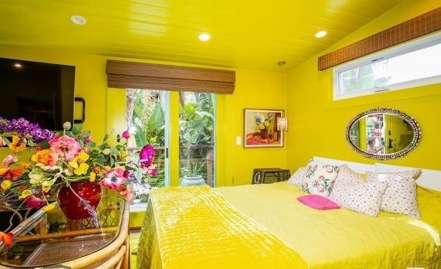 Betsy johnsons  one of a kind mobile home yellow bed