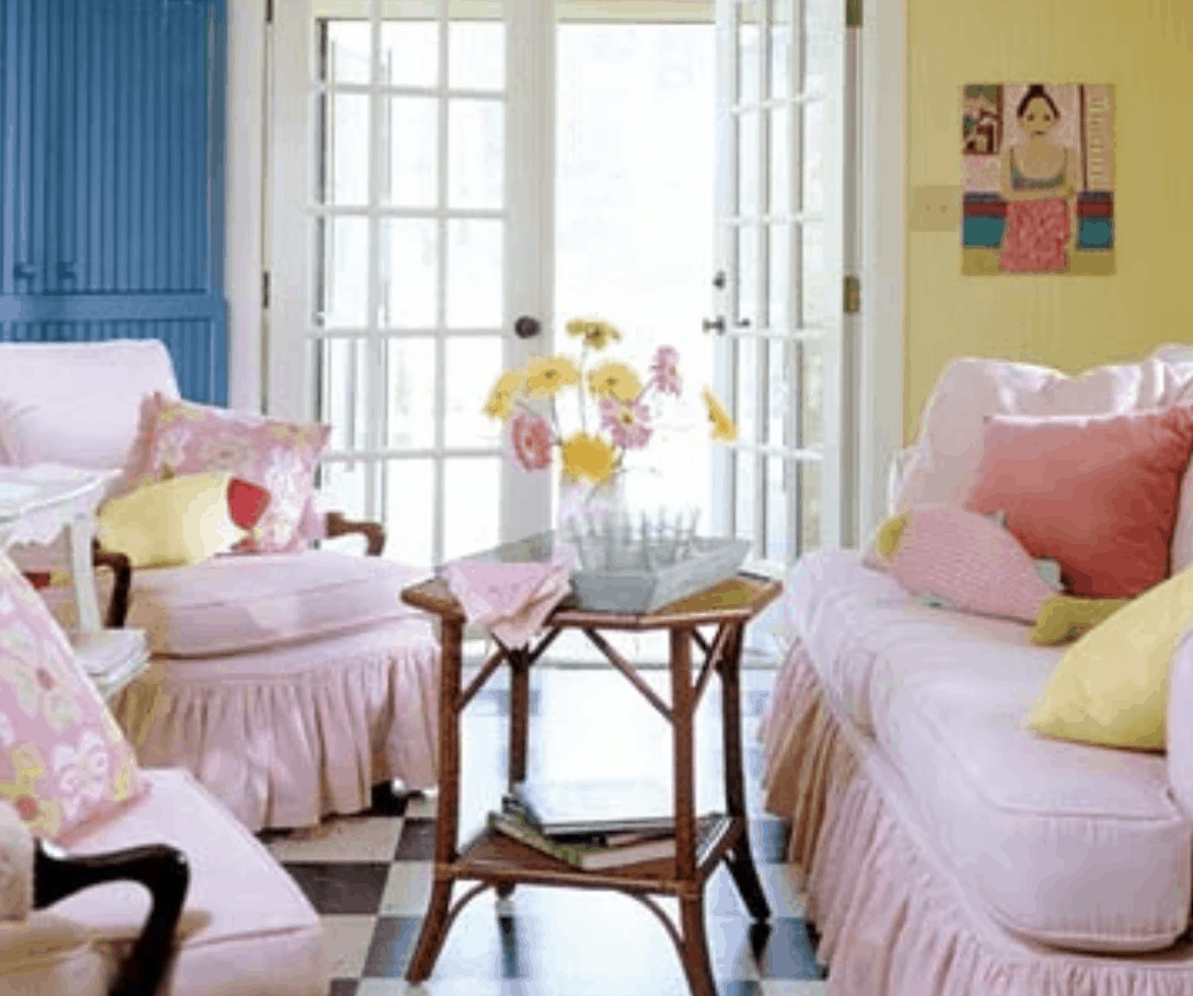 Colorful Single Wide Makeover - pastel living room colors