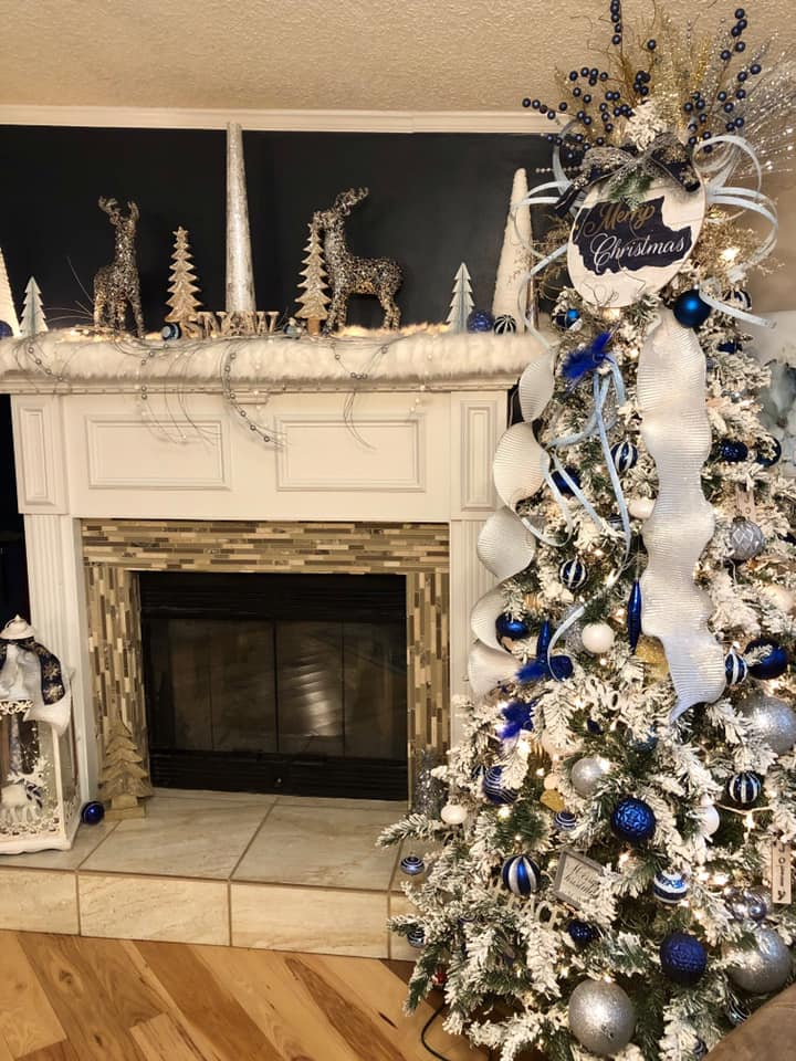 David n donita cantrell christmas tree and fireplace