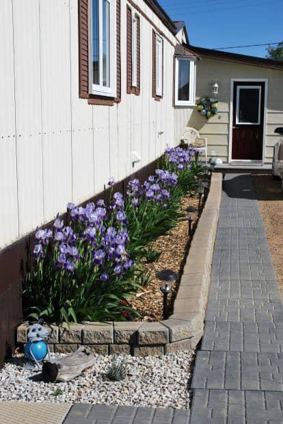 Front door and pathway to 1978 fleetwood single wide