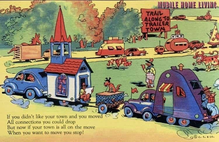 Funny vintage trailer and mobile home postcards9 1