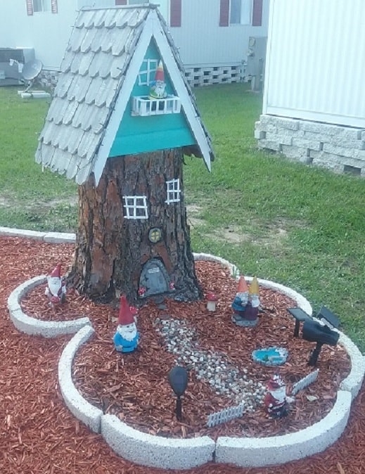 gnome home made from tree stump