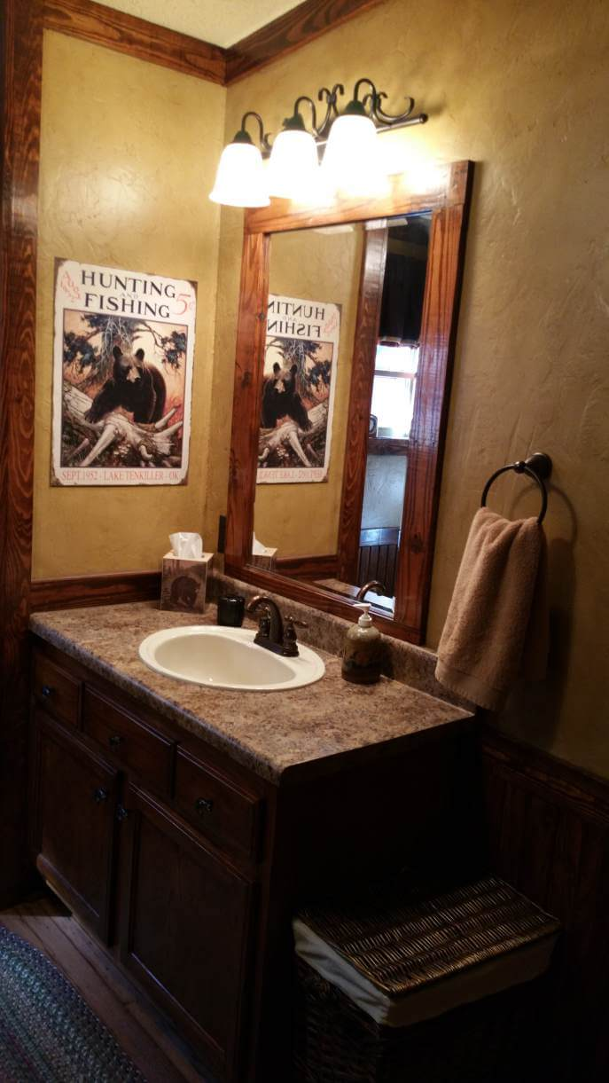 Rustic cabin manufactured home remodel- bathroom