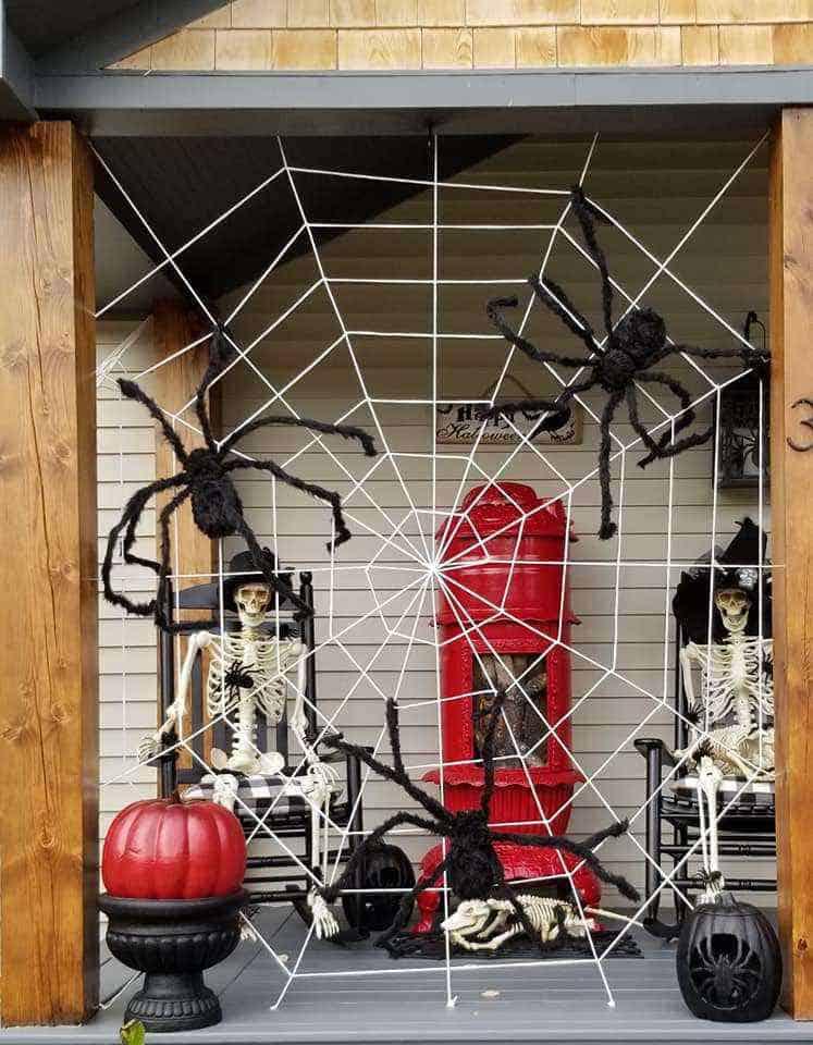 Halloween Decor Manufactured Home Porch Decor Huge Spider Web