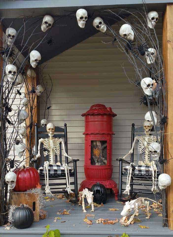 Halloween Decor Manufactured Home Porch Decor Skeletons