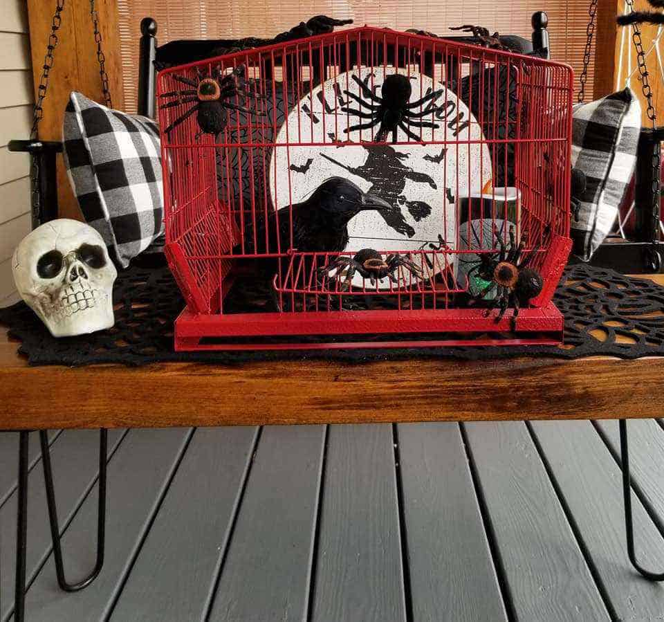 Halloween Decor Manufactured Home Porch Decor Crow Cage