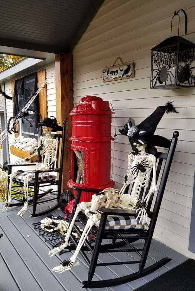 Halloween Decor Manufactured Home Porch Decor Skeleton Rocking Chairs