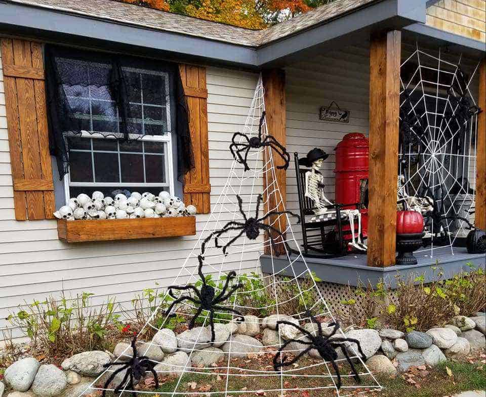 Halloween decor spiders manufactured home porch decor