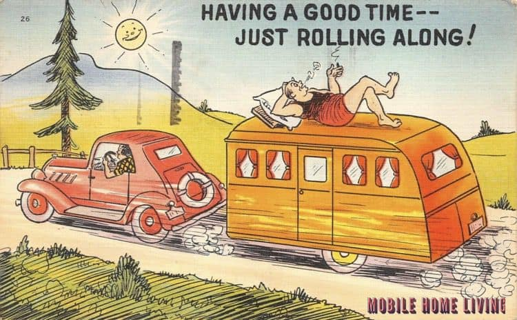 Having A Good Time Just Rolling Along Postcard 1