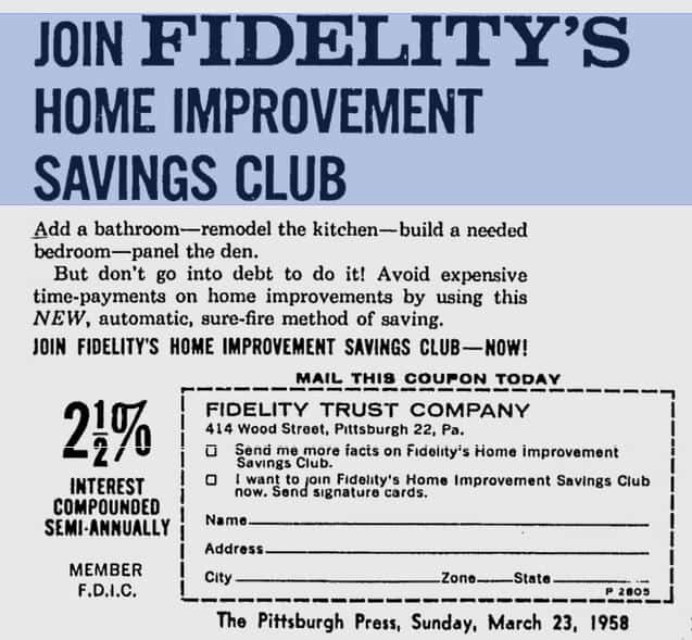 Ways to Finance a Manufactured Home Remodel - Home Improvement Savings Club Advertisement from 1958