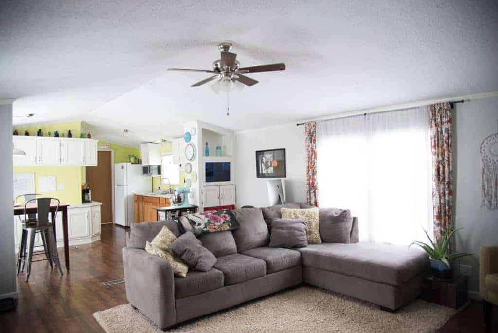 traditional living room in manufactured home