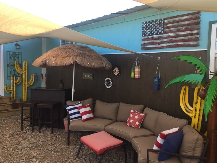 cool exterior patio on 1985 Liberty single wide mobile home 3