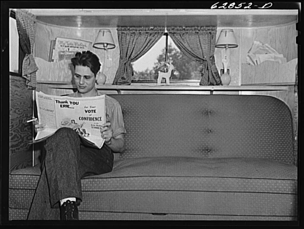Jack Cutter, Who Came From Fort Worth, Indiana For Work In General Electric Plant, In His Trailer At FSA Camp. Erie, Pennsylvania June 41 Copy