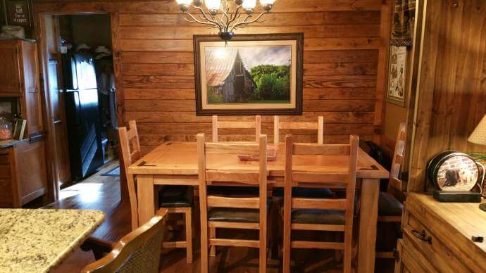 Rustic cabin manufactured home remodel - dining room