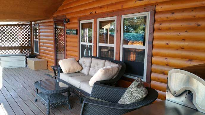 Rustic cabin manufactured home remodel- porch