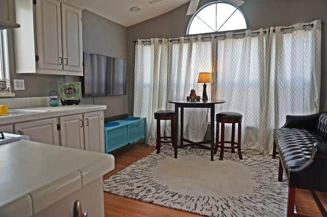 modern beach style manufactured home makeover - after living room