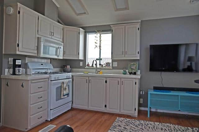 modern beach style manufactured home makeover - after