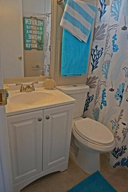 modern beach style manufactured home makeover -after bathroom