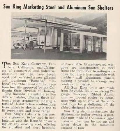 1955 advertisement for Mobile Home Sun Shelters 1955 Trailer Topics Magazine