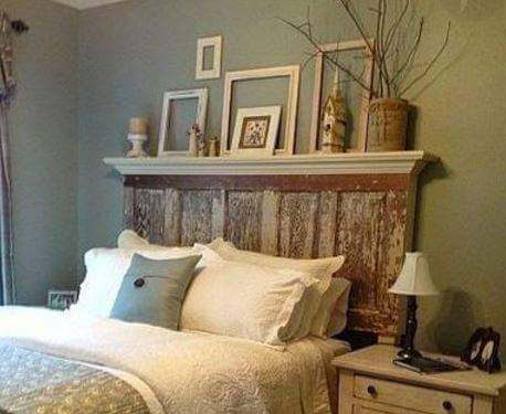 Old door used as headboard