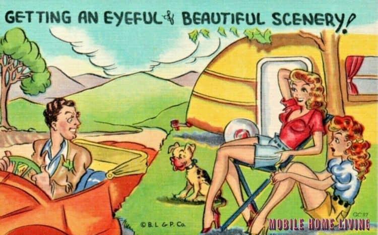 Risque vintage postcard mobile home 1