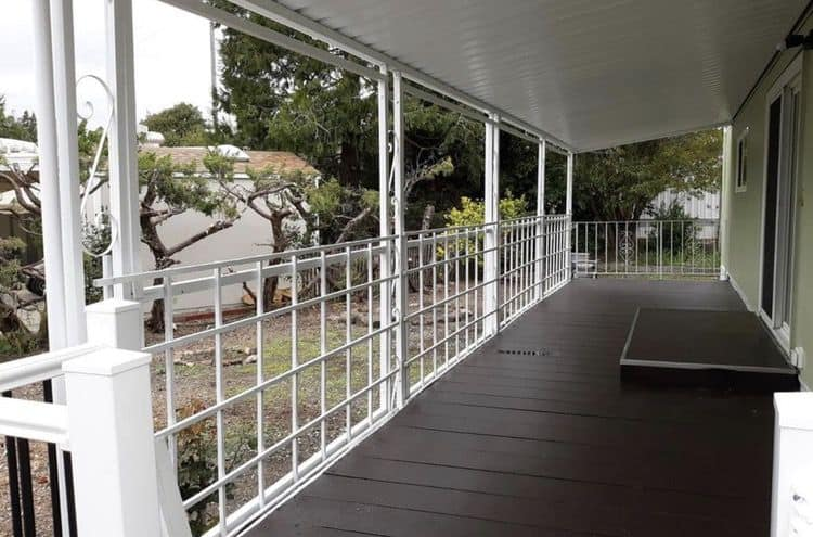 mobile home with covered patio