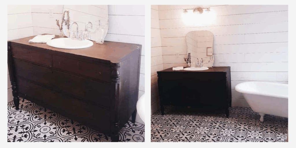 vintage eclectic farmhouse bathroom on a budget