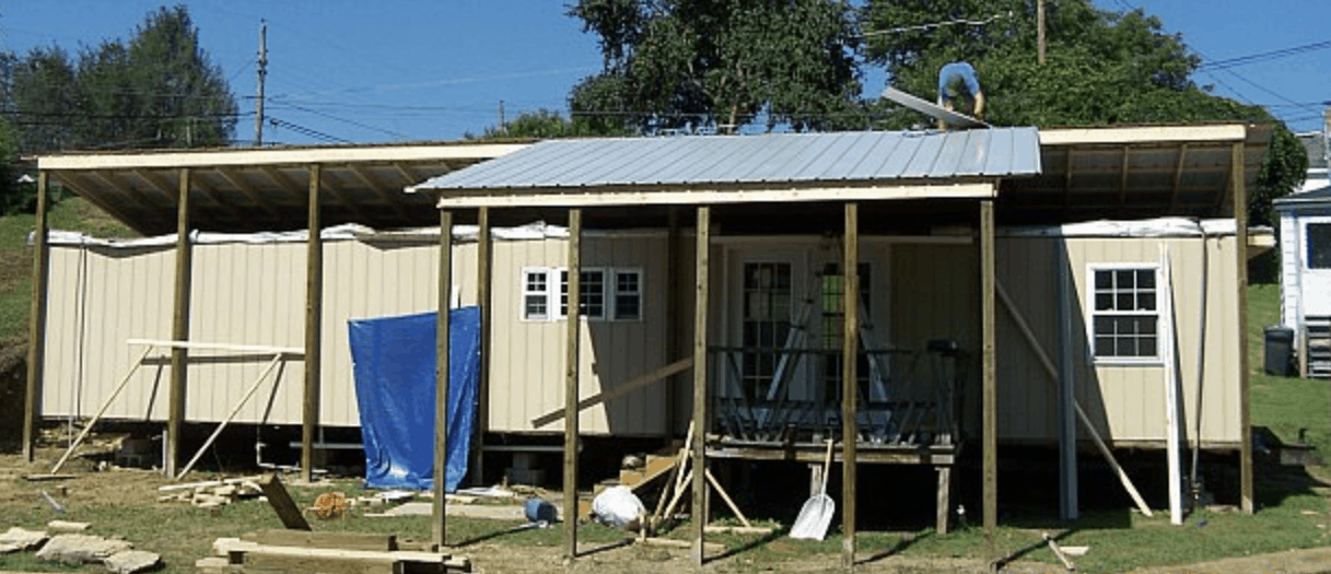 new roof going over mobile home - with porch