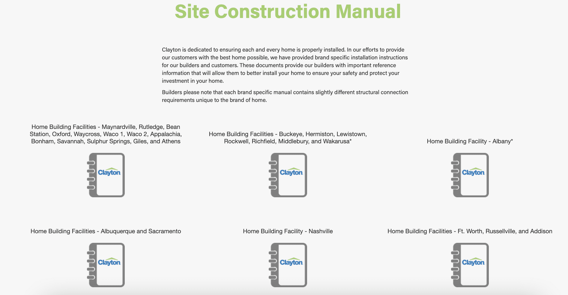 Clayton homes website - site construction manuals
