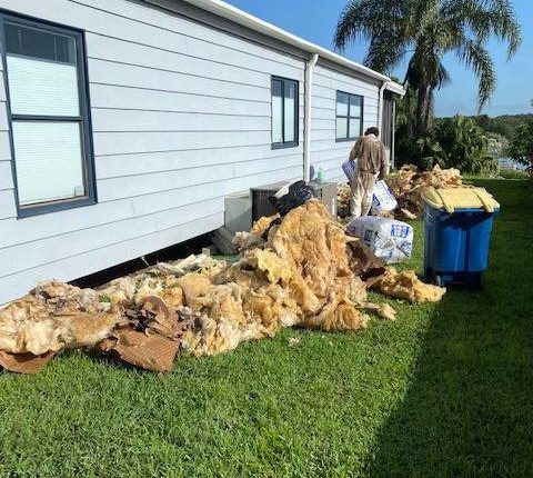 Step Removing Old Insulation Under A Mobile Home