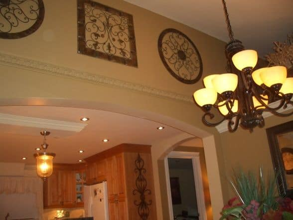 Traditional decor and chandelier