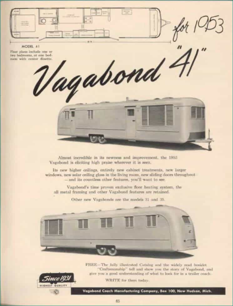 Vagabond 1953 mobile home ad