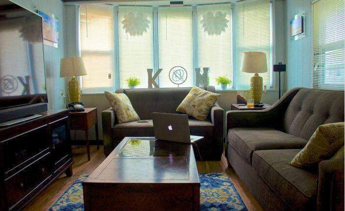 affordable mobile home remodel - 1968 Landola single wide goes Retro (living room after)