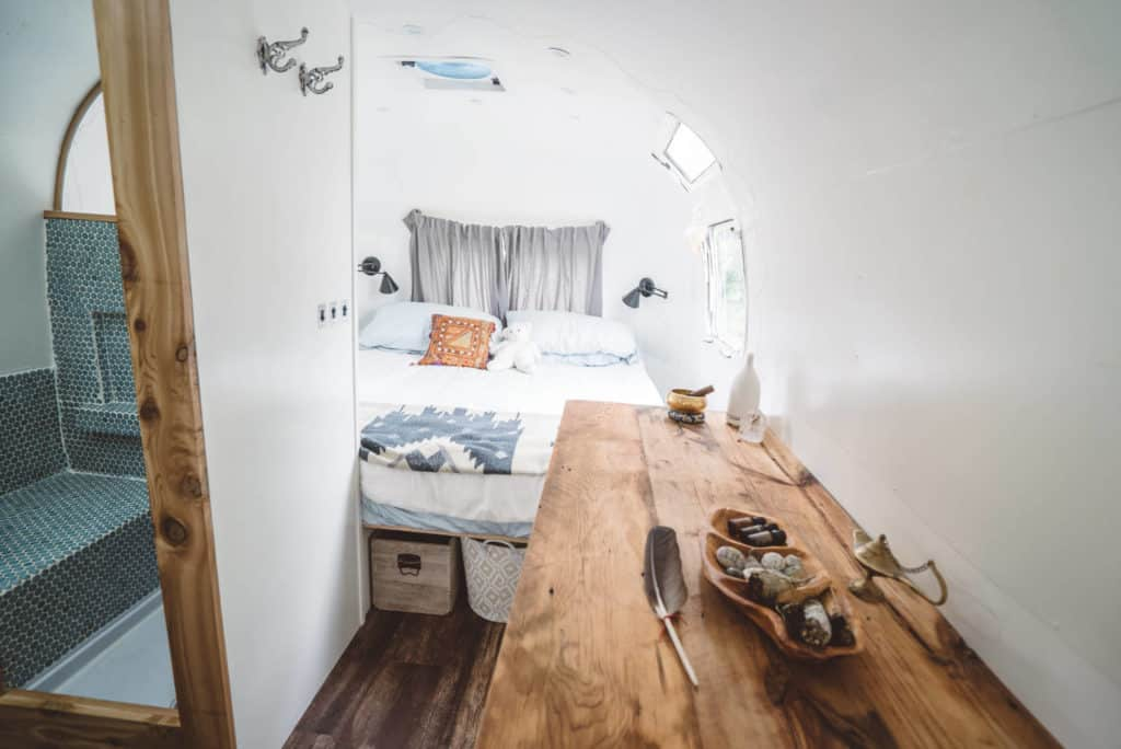 Airstream bedrooom after