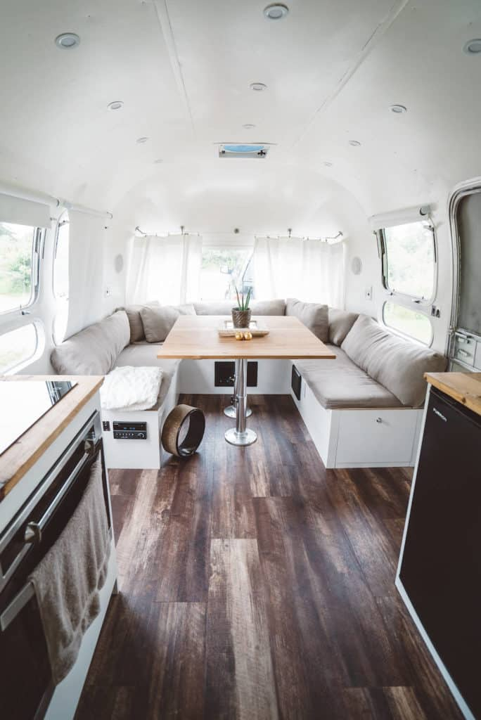 Airstream dining area after