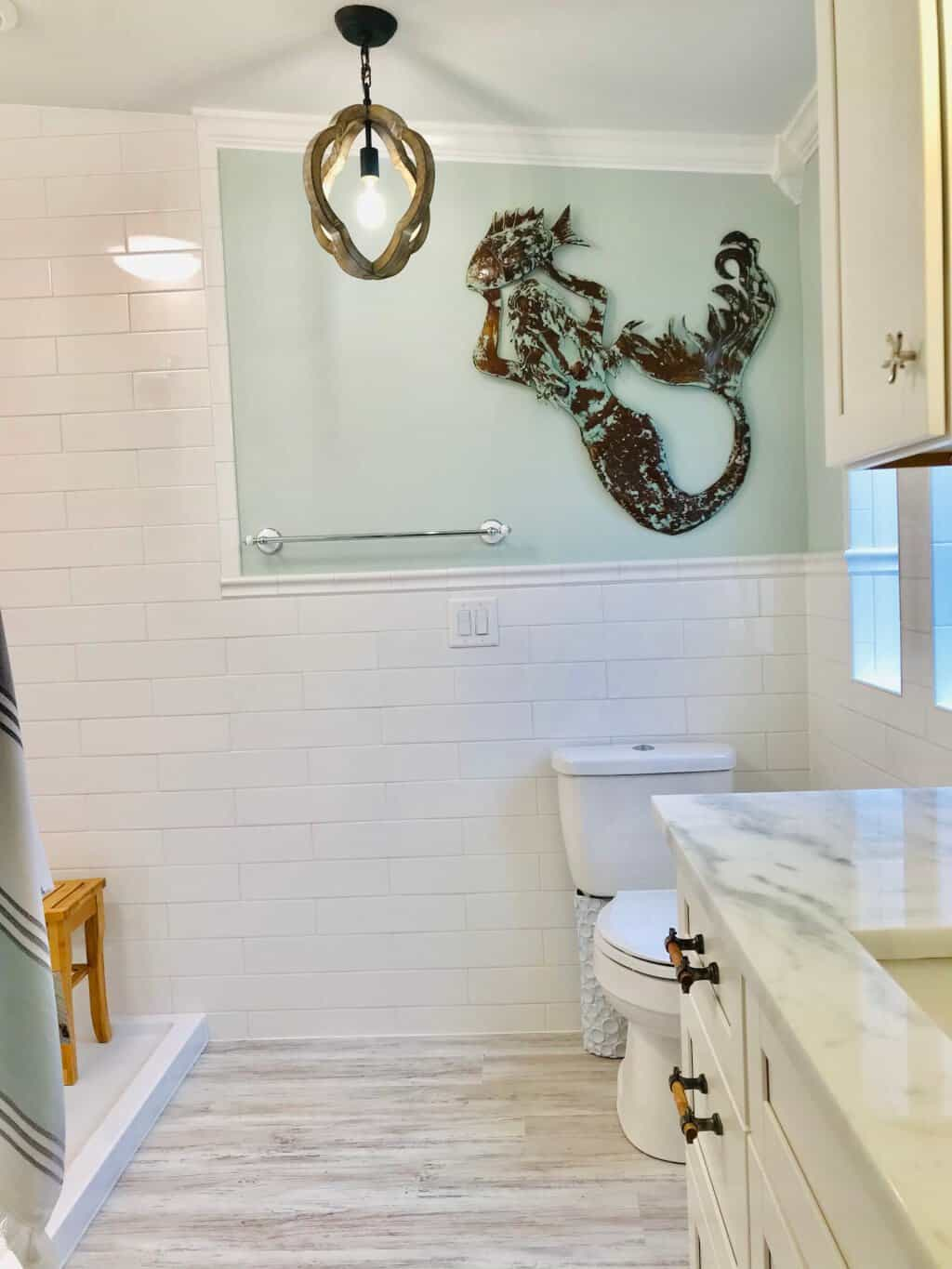 Beach cottage bathroom with pendant light 1