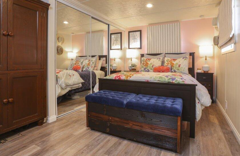 Beach loving mobile home bedroom