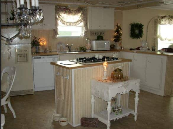Beadboard backsplash in 1979 charming cottage style manufactured home